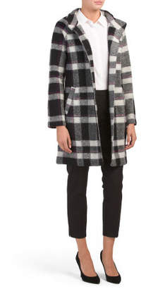 Wool Mock Neck Plaid Jacket