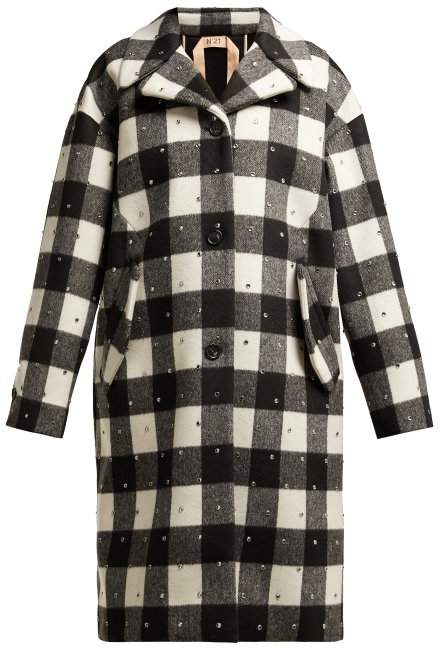 No. 21 - Single Breasted Wool Blend Check Coat - Womens - Black White
