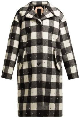 No.21 No. 21 - Single Breasted Wool Blend Check Coat - Womens - Black White
