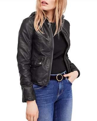 Free People Monroe Hooded Faux-Leather Jacket