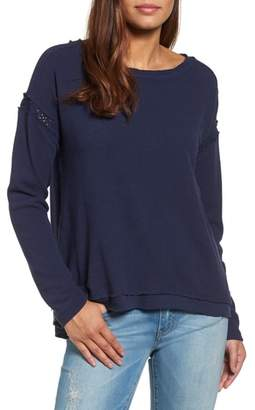 Caslon Crochet Lace Trim Sweatshirt