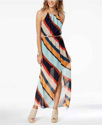 BCX Juniors' Striped Belted Maxi Dress