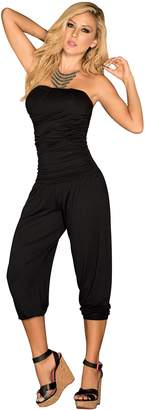 Am.pm. AM:PM By Espiral Mapalé by AM:PM Women's Strapless Casual Ruched Capri Fashion Jumpsuit