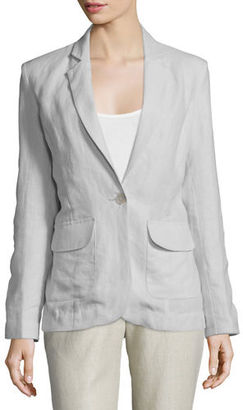 Neiman Marcus One-Button Fitted Linen Blazer $225 thestylecure.com