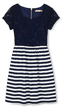 Speechless Lace-to-Stripes Dress - Girls 7-16