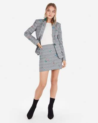 Express Floral Embroidered Plaid Blazer