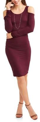 Elite Brands Women's Cold Shoulder Bodycon Dress with Ruching