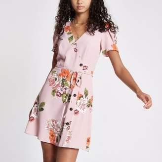River Island Pink floral button down mini dress