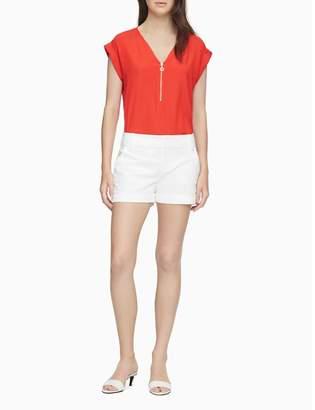 Calvin Klein V-Neck Zip Front Cuff Sleeve Top