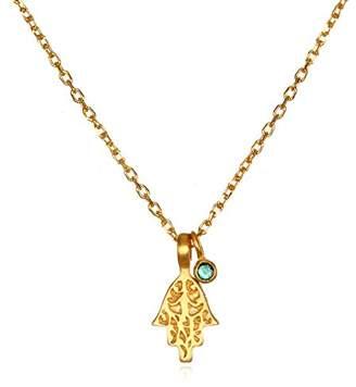 Satya Jewelry Emerald Gold Plate Mini Hamsa Pendant Necklace
