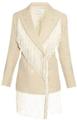 BEIGE Hillier Bartley - Fringed Double Breasted Linen Blazer - Womens