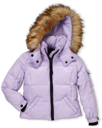 S13 (Toddler Girls) Faux Fur Trim Hooded Down Coat