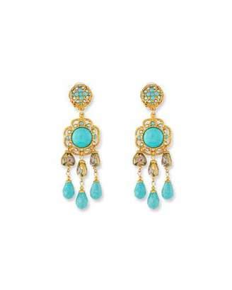 Jose & Maria Barrera Turquoise Triple-Drop Clip-On Earrings