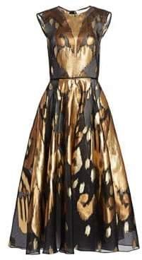 Oscar de la Renta Metallic Ikat A-Line Dress