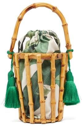 Glorinha Paranagua Lineia Leaf Print Canvas And Bamboo Cage Bag - Womens - Green Multi