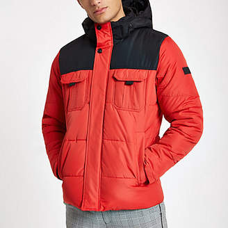 River Island Jack and Jones red block hooded puffer jacket