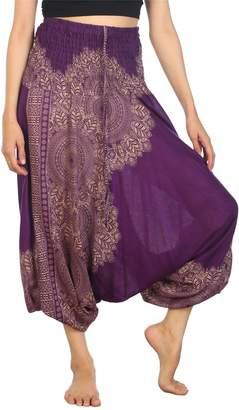 Lofbaz Women's Hippe Solid Smocked Waist Harem trousers Rayon boho Pants Purple XL