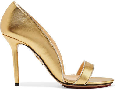 Charlotte Olympia - Christine Metallic Leather Pumps - Gold