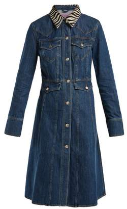 ALEXACHUNG Zebra Collar Denim Dress - Womens - Denim