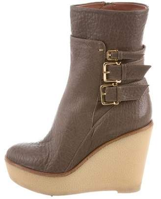 Derek Lam Leather Wedge Ankle Boots