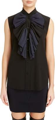 Givenchy Pleated Bib Silk Blend Blouse