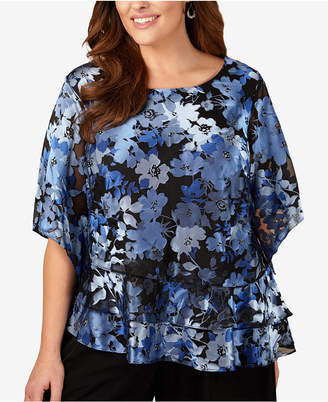 Alex Evenings Plus Size Printed Tiered Top