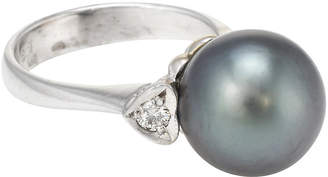 One Kings Lane Vintage Cultured Tahitian Black Pearl Ring - Precious & Rare Pieces