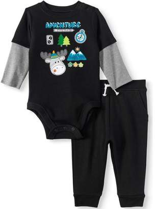 Garanimals Long Sleeve Layered Bodysuit & French Terry Jogger Pants, 2pc Outfit Set (Baby Boys)