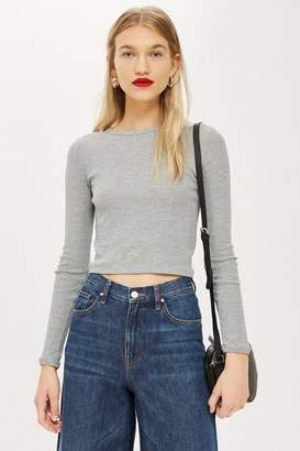 Topshop Long Sleeve Scallop T-Shirt