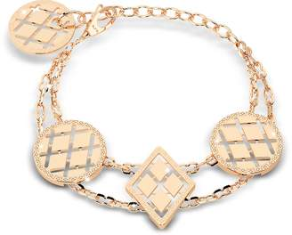 Rebecca Melrose Yellow Gold Over Bronze Bracelet w/Geometric Charms