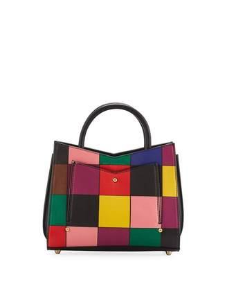 Sara Battaglia Toy Rainbow Leather Accordion Tote Bag
