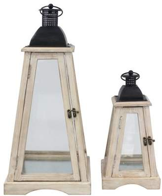 STONEBRIAR COLLECTION Stonebriar Decorative Coastal Worn White Wooden Hurricane Candle Lantern Set - Indoor or Outdoor Use - Set of 2