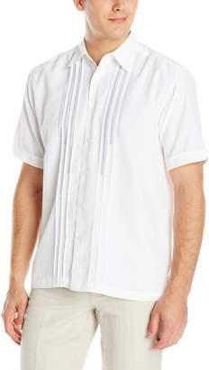 Cubavera Cuba Vera Men's Short Sleeve Tucks and Embroidered Detail Woven Shirt