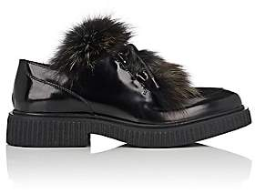 Barneys New York Women's Fur-Trimmed Leather & Suede Oxfords - Black