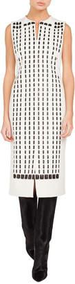 Akris Sleeveless Front-Zip Hotel-Facade Embroidered Sheath Dress w\/ Slits