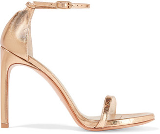Stuart Weitzman - Nudistsong Metallic Leather Sandals - Gold $400 thestylecure.com