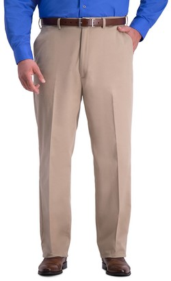 Haggar Big & Tall Work-To-Weekend PRO Relaxed-Fit No-Iron Stretch Flat-Front Expandable-Waist Pants