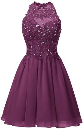 18df3aa14 Cdress Short Homecoming Dresses Junior Prom Cocktail Dress Chiffon Evening  Formal Gowns Appliques Bodice US
