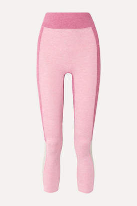We/Me - The Sunrise Cropped Color-block Stretch-jersey Leggings - Pink