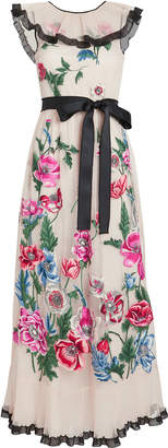 RED Valentino Poppy Flower Embroidered Tulle Dress