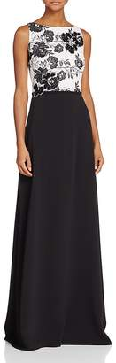 Carmen Marc Valvo Infusion Floral Embroidered Lace-Top Gown $398 thestylecure.com