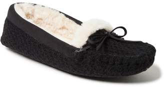 Dearfoams Women's Mixed Materials Moccasin Slippers