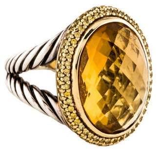 David Yurman Citrine & Sapphire Oval Signature Ring