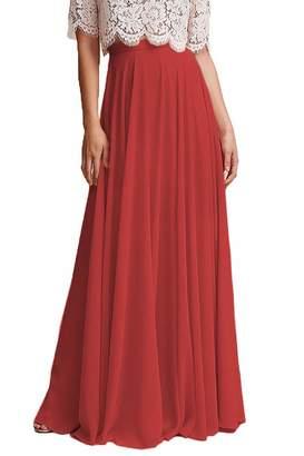 Omleas Omelas Women Long Floor Length Chiffon High Waist Skirt Maxi Bridesmaid Pary Dress (, M)
