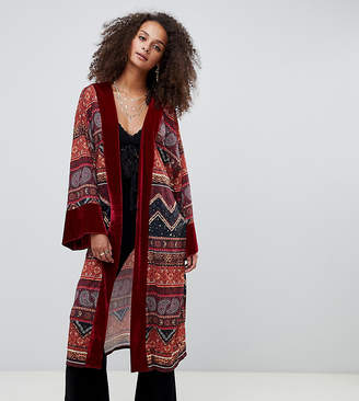 Kiss The Sky longline kimono with velvet trim in paisley celestial print
