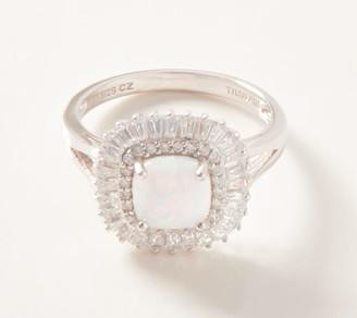 Diamonique Simulated Opal Sunburst Ring, 18K Clad or Sterling