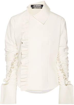 Jacquemus La Chemise Paco Ruffle-trimmed Crepe Top - Off-white