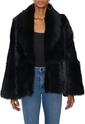Pologeorgis Short Collared Black Fur Coat