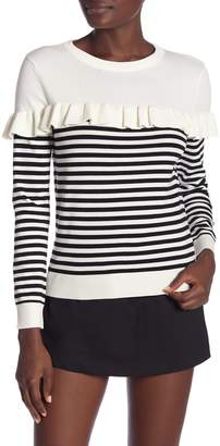 ENGLISH FACTORY Striped Knit Pullover With Ruffle
