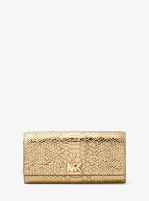 MICHAEL Michael Kors Mott Metallic Snake-Embossed-Leather Wallet